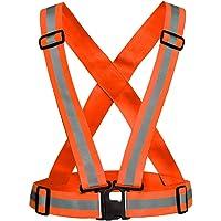 Generic orange safety reflective adjustable vest belt high visibility gear stripe