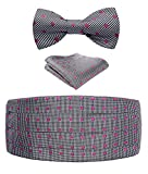 HISDERN Men's Floral Paisley Silk Cummerbund & Self Bowtie & Pocket Square Set