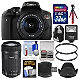 Canon EOS Rebel t6i WI Digital SLR Kamera & EF-S 18–55 mm is & 55–250 mm is STM Linse mit 32-GB-Karte + Tasche + Blitz + Stativ + 2 Filter + Kit