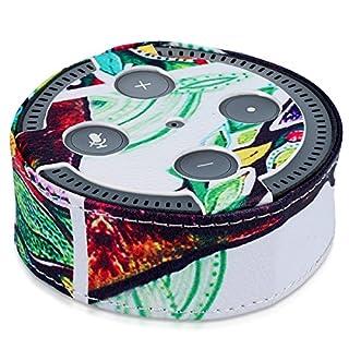 kwmobile Kunstleder Abdeckung für Amazon Echo Dot (2. Generation) Lautsprecher - Hülle Schutzbox Case Schutzhülle bunter Baum Design Mehrfarbig Grün Weiß