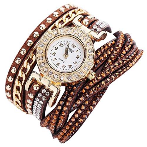 Ouneed® Uhren, Frauen-Armbanduhr-Damen-Kleid-Quarz-Uhr (Braun) Womens Römischen Stil Kleid