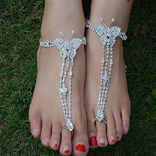 Spritech Barfuß-Sandalen/Fußkettchen, glitzernd, Strass-Design, für Strandhochzeit/Brautjungfer, zufälliges Design