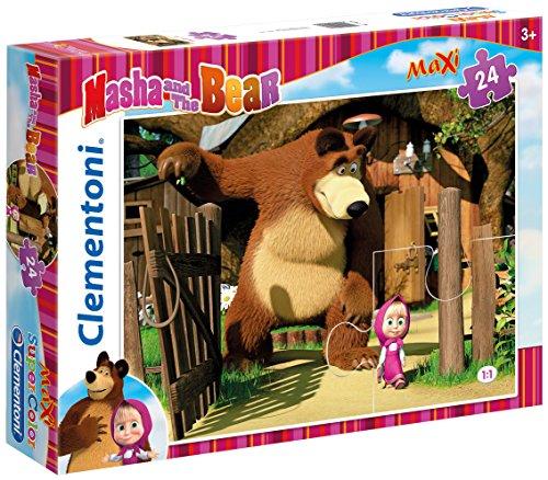 Clementoni 24032 - puzzle maxi masha e orso, 24 pezzi