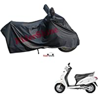 RiderShine Waterproof Scooty Body Cover for Honda Activa 5G Double Mirror Pocket with Over Lock Protection (Black)