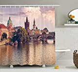 tgyew Apartment Decor Shower Curtain Set, Pastoral View at Charles Bridge and Spires of Prague Central Europe Gothic Buildings Image, Bathroom Accessories, 60W X 72L Inche Long, Multi