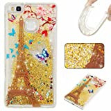KSHOP Huawei p9 lite Case Generation Case Liquid Glitter Case Bling Floting Quicksand Full of Lover Stars Soft TPU Silicone Ultra Thin Lightweight Rubber SmartPhone Protective Back Cover -Golden
