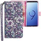 CLM-Tech Samsung Galaxy S9 Hülle, Tasche aus Kunstleder, Blume Ornament lila blau, PU Leder-Tasche für Galaxy S9 Lederhülle