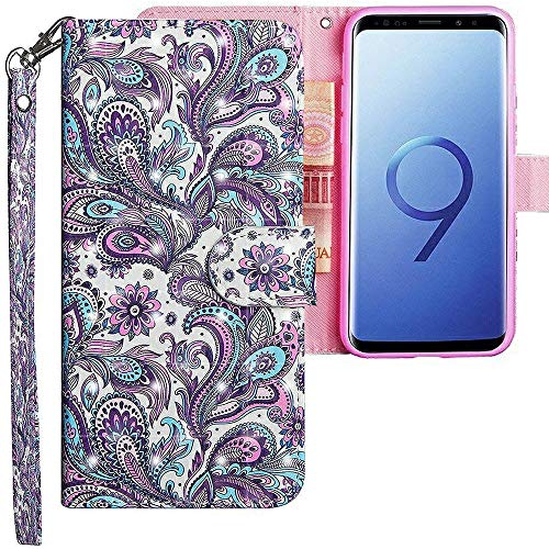 CLM-Tech kompatibel mit Samsung Galaxy S9 Hülle, Tasche aus Kunstleder, Blume Ornament lila blau, PU Leder-Tasche für Galaxy S9 Lederhülle