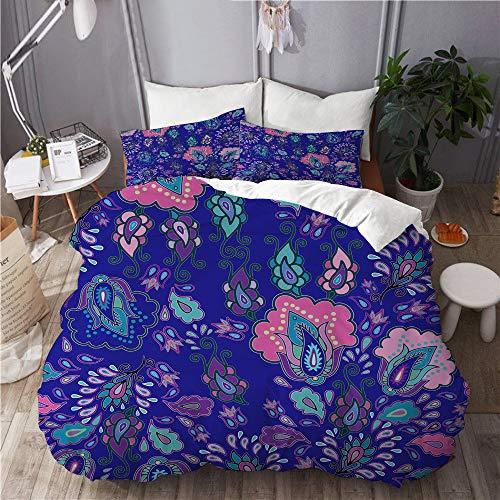 et, Mikrofaser,Paisley-Blumenmuster-Teppich-marokkanisches türkisches Indonesien-Japanisches Batik-Gänseblümchen,1 Bettbezug 200 x 200cm+ 2 Kopfkissenbezug 80x80cm ()