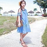 XM Mädchen Leak-Schulter-Kleid Sommer Kind Kleid Kind Jeansrock Kinderkleidung Kinderrock