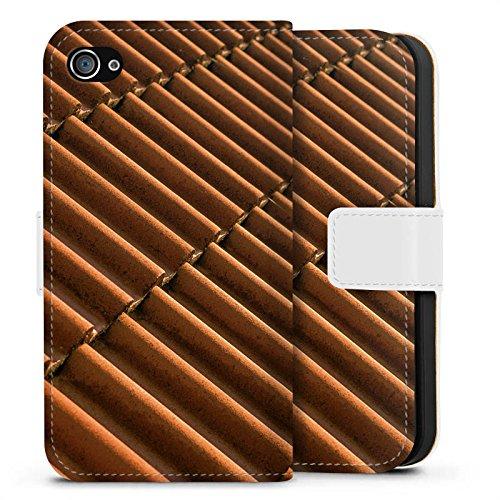 Apple iPhone X Silikon Hülle Case Schutzhülle Dachziegel Ziegel Look Muster Sideflip Tasche weiß