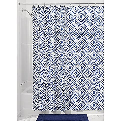 InterDesign 183 x 183 cm Inca cortina de ducha de tela suave, blanco/azul marino