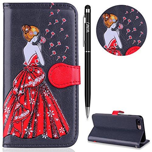 iPhone 7 Plus Hülle,iPhone 8 Plus Leather Handyhülle,WIWJ Wallet Case[Glitter geprägtes schönes Mädchen Handy Shell] Bling Schutzhüllen für iPhone 7 Plus/iPhone 8 Plus-Grau