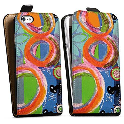 Apple iPhone X Silikon Hülle Case Schutzhülle Abstrakt Muster Kreise Downflip Tasche schwarz