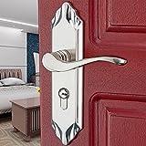 Puerta de madera Leverset Interior cepillado níquel cinc aleación de bloqueo de manija de la cerradura de puerta de estilo moderno dormitorio 20cm