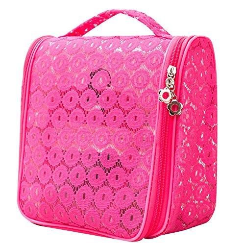 Make-up Taschen für Frauen Damen Reisen Waschbeutel Hollow Kosmetiktasche Handtasche Paket Toilettenbeutel rose red