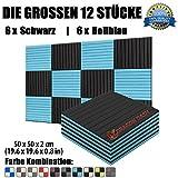Super Dash 12 Stucke von 50 X 50 X 2 cm Schwarz & Hellblau Akustikschaumstoff Noppenschaumstoff Akustik Dämmmatte Schallisolierung Schaumstoff Polster Fliesen SD1035 (SCHWARZ & HELLBLAU)