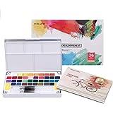 Juego de acuarelas profesionales 36 colores, incluye 36 colores de acuarela, 12 papeles de acuarela, 2 pinceles de tanque de