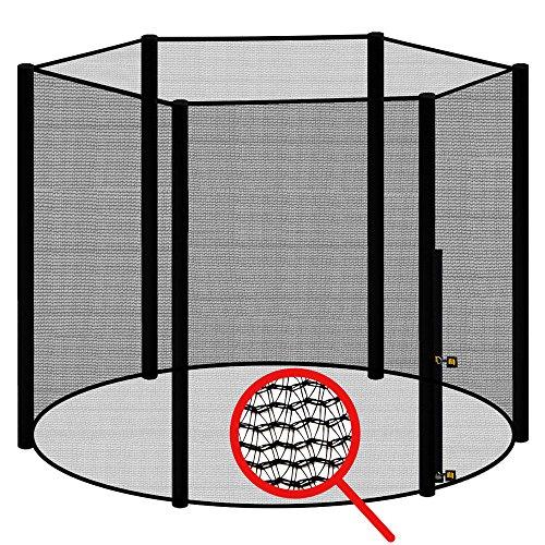 awm® Trampolin Sicherheitsnetz für 6 Stangen - System Fangnetz Netz außenliegend Trampolinnetz Ersatznetz schwarz 360cm - 366cm