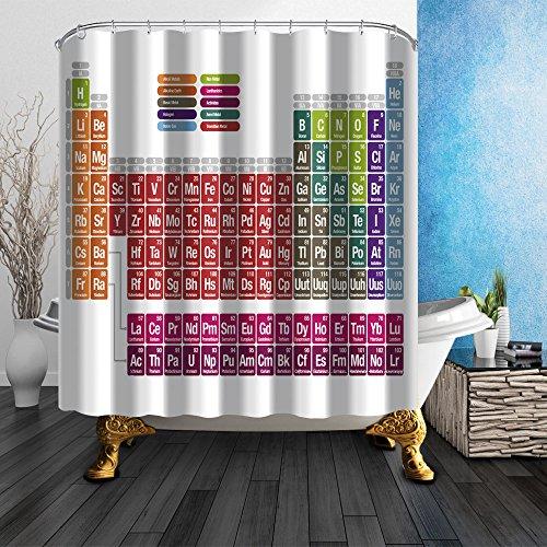 Dekor Bunte Streifen Serie Grüner Duschvorhang Grün antibakteriell wasserdicht, 180 cm * 180 cm, inklusive Haken (Periodensystem der Elemente) ()