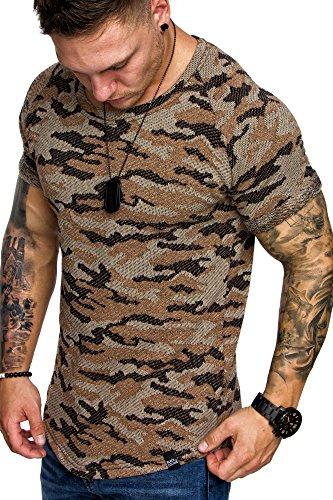 BCOC by AMACI Oversize Camouflage Vintage Raglan Herren Shirt Sweatshirt Crew-Neck 6049 Camouflage Beige L (Crewneck Raglan Sweatshirt)