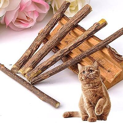 Umiwe Cat Teeth Grinding Chew Toy Catnip Stick Natural Matatabi, Teeth Healthy Care Organic Silver Vine Bully Sticks for Kitty