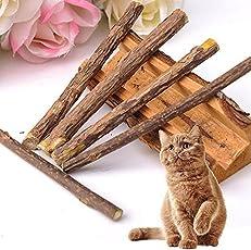 Umiwe 5 Matatabi Katze kausticks, Katzenminze Sticks Katze Reinigung Zähne Bio Spielzeug natürliche Pflanze Kauen Sticks Katze Zähne Reinigung Kauspielzeug