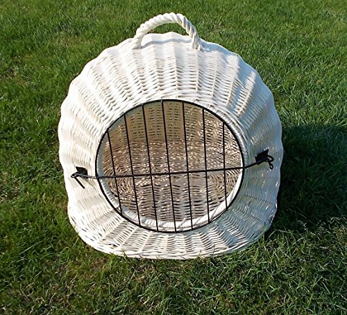 Katzenkorb aus Weide Weiß gebleicht | Größe XL 55x45x47 cm | abnehmbares Metall-Gitter Transportkorb / Transportbox für Katzen Hunde | Katzenhöle Hundebett … (XL)