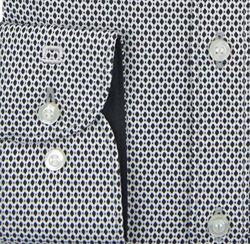 OLYMP Body Fit Hemd Langarm New Kent Kragen Patch Muster schwarz Schwarz