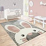 Kinderteppich Kinderzimmer Konturenschnitt Niedlicher Hase Grau Creme Rosa, Grösse:80x150 cm