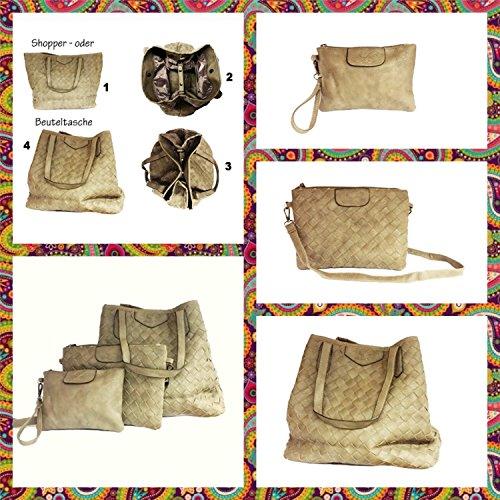 La Loria borsa intrecciato set 3 pezzi Weave tasca, borsa a tracolla, borse a secchiello, borse a spalla, borse a tracolla, borse tote - oliva Beige Taupe Grigio