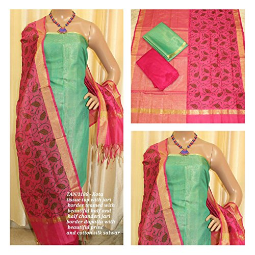 Avni Fashion KOTA TISSUE TOP WITH JARI BORDER TEAMED WITH BEAUTIFUL HALF...