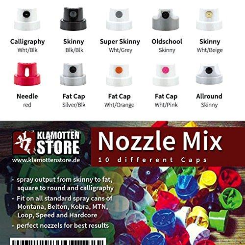Sprühköpfe Klamottenstore.de Nozzle Mix - 10 verschiedene Spraycaps (Montana Caps)