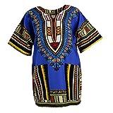 MagiDeal Frauen Traditionelle afrikanische Dashiki Minikleider Sommer Beiläufige Partei Kleider Hippie-Kleider Bodycon Kurzarm Kleid - Königsblau, wie beschrieben