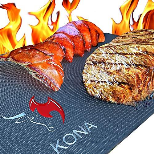 KONA Beste BBQ Grillmatte - 600 Grad Matten mit Antihaftbeschichtung Schwere Qualität (2 Stück) - 7 Jahre Garantie