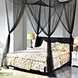 Super buy 4 Corner Post Bed Canopy Mosquito Net Full Queen King Size Netting Black Bedding by Super buy
