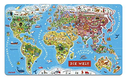 Janod Magnetic Puzzle of the World of Wood 92 Pieces, German Version (J05490)