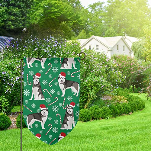 Kentucky Blue Pole (IconSymbol Garden Outdoor Flag Stand Banner Alaskan Malamute Peppermint Stick Candy Canes Winter Snowflakes Dog Green Decorative Weather Resistant Double Stitched 18 x 12.5 Inch)