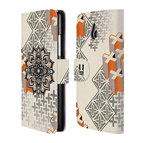 Head Case Designs Mandala E Croce Arte Puntiforme 2 Cover telefono a portafoglio in pelle per HTC One mini - Croce Cucita Arte