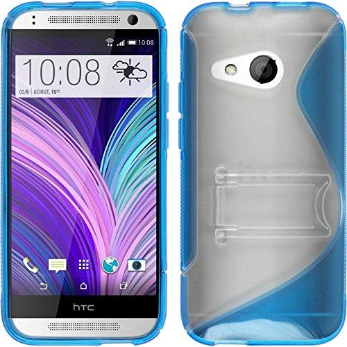 PhoneNatic Case für HTC One Mini 2 Hülle Silikon blau, 2 Schutzfolien