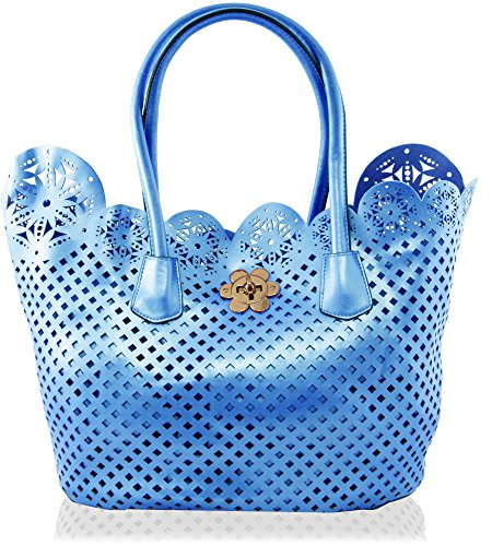 KUKUBIRD METALLIC PERFORATED DOUBLE BAG FAUX LEATHER DESIGNER LARGE HANDBAG SKY BLUE