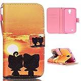 jbTec Flip Case Handy-Hülle zu Samsung Galaxy S4 / GT-I9505 / GT-I9500 / VE GT-I9515, LTE+ / GT-I9506 - BOOK MOTIV #04 - Handy-Tasche, Schutz-Hülle, Cover, Handyhülle, Ständer, Bookstyle, Booklet, Motiv / Muster:Verliebte & Sonne L15