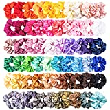 WATINC 60 Stücke Bunte Silk Satin Scrunchie Set Starke Elastische Bobble Haarbänder für Pferdeschwanz Halter Einfarbig Traceless Haarseil Zubehör