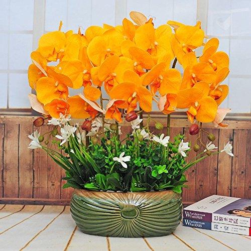 Jnseaol Kunstblumen Künstliche Blumen Orchidee Keramik Topf DIY Hotel Wohnzimmer Hochzeit Party Küche EIN Großes Dekor Gelb -03