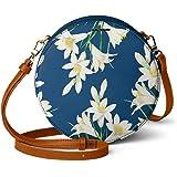 DailyObjects White Lillies Orbis Round Sling Crossbody Bag for girls and women | Vegan leather, Stylish, Sturdy, Zip closure