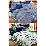 Story@Home Magic Combo 152 TC 2 Pieces Bedsheets with 4 Pillow Covers - Blue