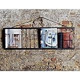 Porta depliant Supporto opuscolo parete Wanddisplay Wandset Metallo nero 104X32cm