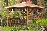 G&C Baltic Spa – viereckige Gartenlaube mit Dachschindeln und Rankgitter – perfekt für einen Whirlpool – Maße: 252 cm x 252 cm x H 295 cm
