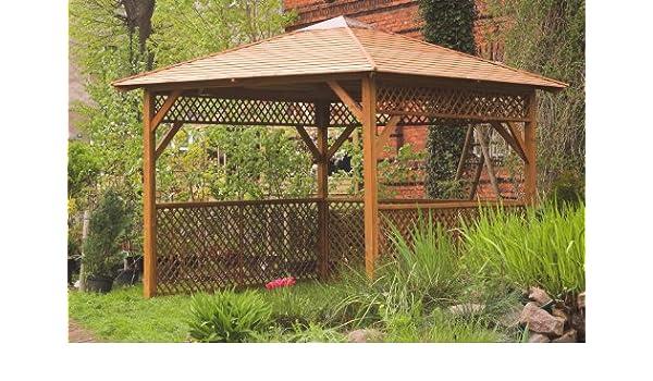 Gazebo da giardino in legno trattato con traliccio misure cm