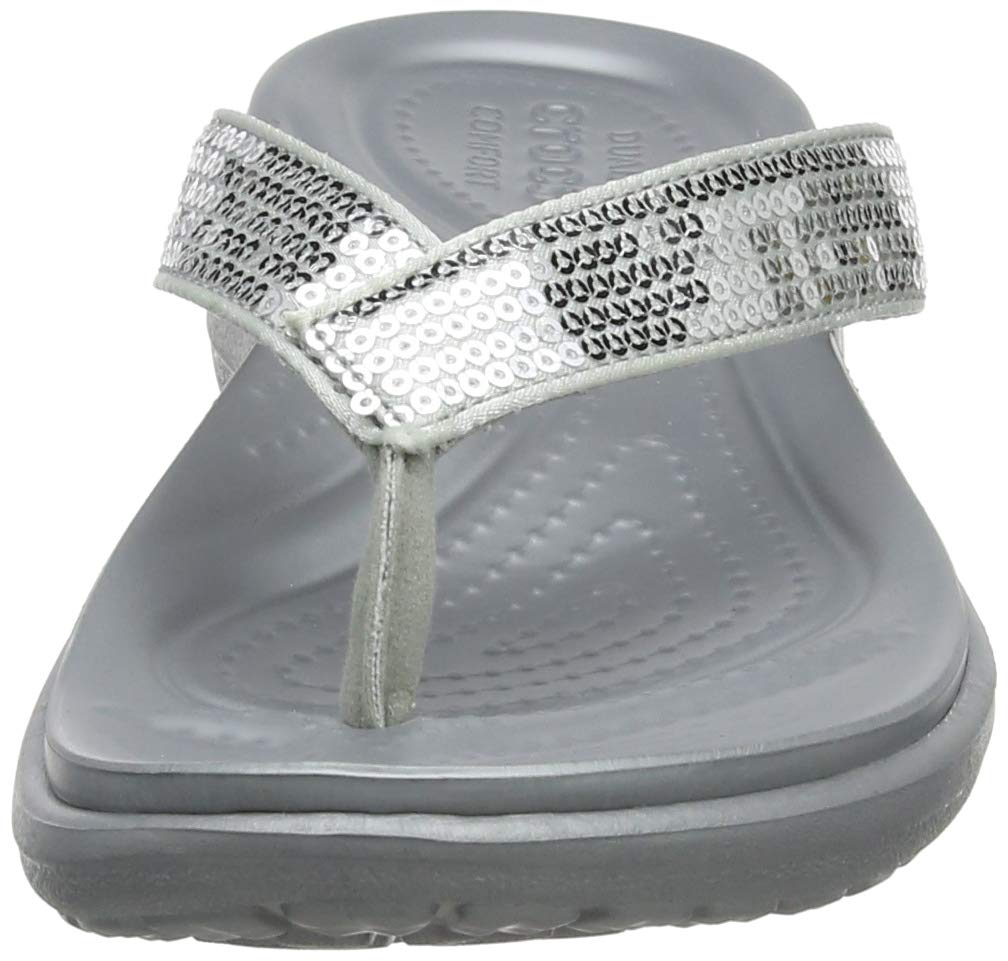 NEW Nwt Crocs Women/'s Capri V Graphic Sequin Flip Flop Shoe Sz:10